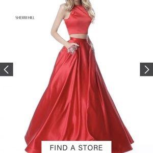 Sherri Hill prom dress purple 2 piece size 6